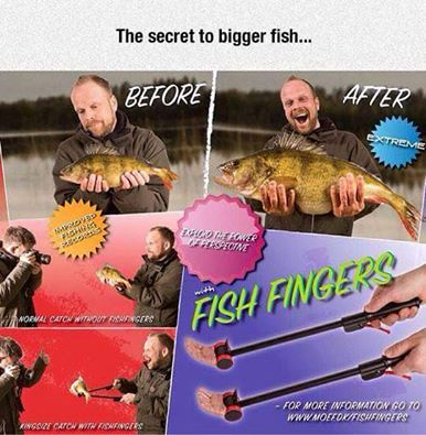 Tiny fingers make the fish look bigger.  Classic play.