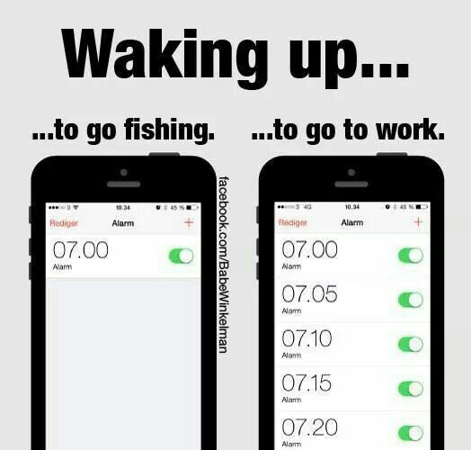 Waking up... to go fishing vs. to go to work.  Funny Fishing Meme.